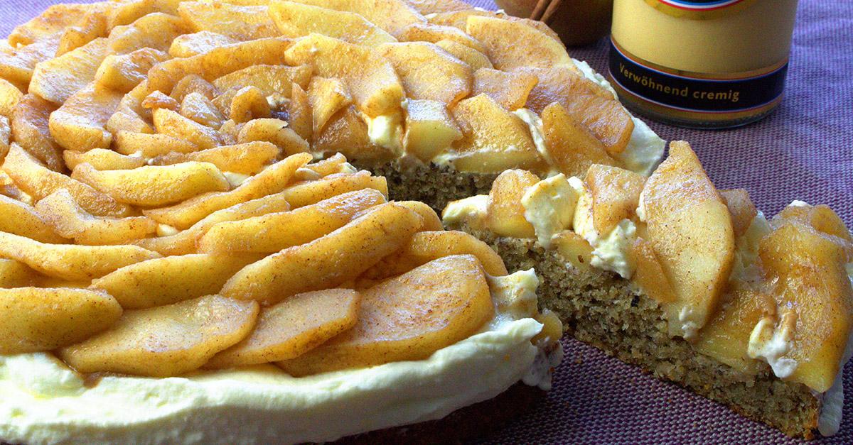 Apfel Nuss Torte Mit Verpoorten Mascarpone Creme Kuchenrezepte Mit