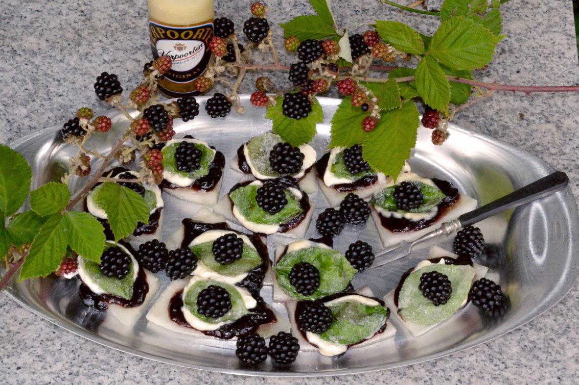 fruchtig cremige brombeer melonensticks mit eierlik rcreme. Black Bedroom Furniture Sets. Home Design Ideas