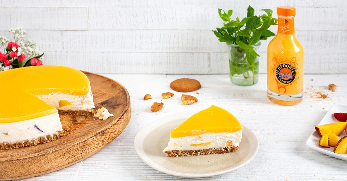 Kuchen ohne Backen Rezept ''Verpoorten Pfirsich-Maracuja Cheesecake'' - Kuchenrezepte mit Eierlikör